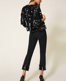 Flared jeans with sequins Black Woman 202MT2124-03