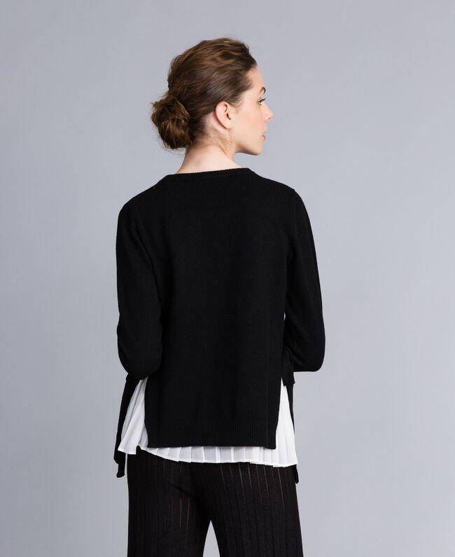 """Maglia in lana e cashmere con top plissé Bicolor Nero / Bianco """"Neve"""" Donna PA831C-03"""