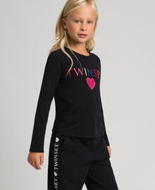 T-shirt with multicolour logo Black Child 999GJ2010-02