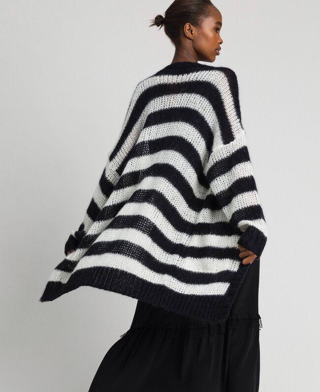 "Striped mohair maxi cardigan Black / ""Papyrus"" White Stripe Woman 192TP3272-01"