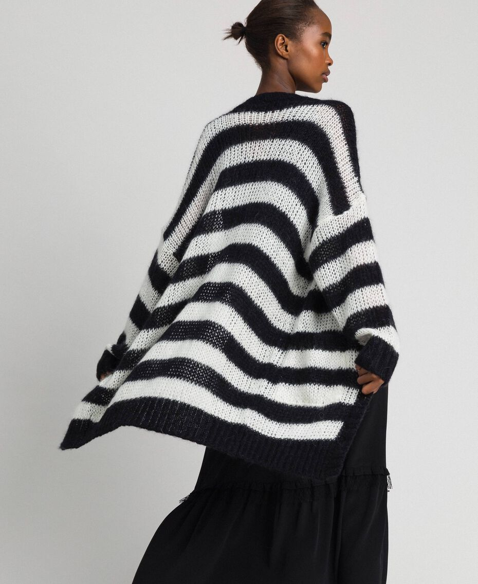 "Striped mohair maxi cardigan Black / ""Papyrus"" White Stripe Woman 192TP3272-01"