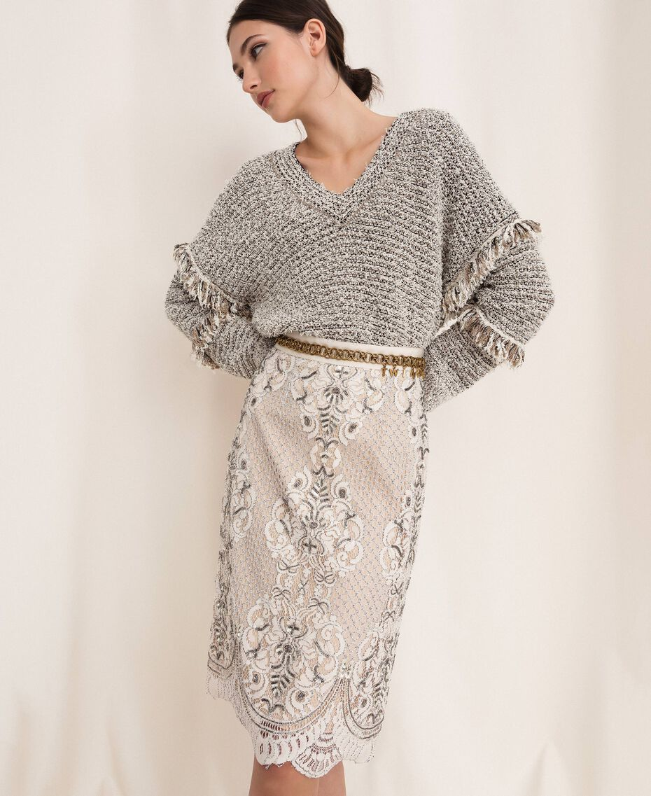 Lace skirt with embroidery Ivory Woman 201TP2464-01