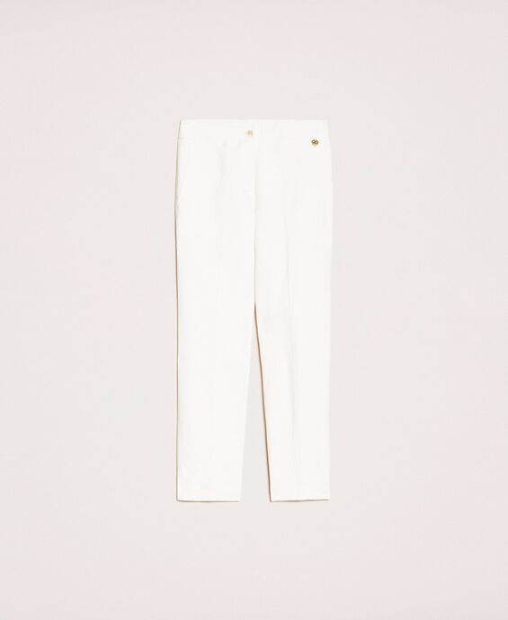 Linen blend cigarette trousers