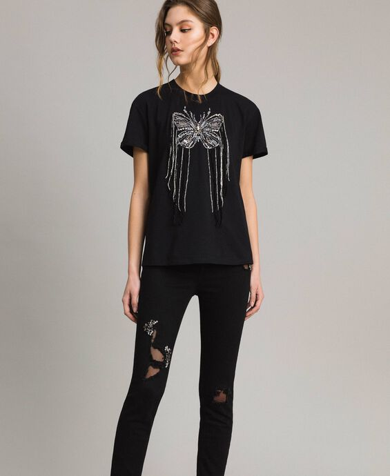 Butterfly embroidery and fringe T-shirt