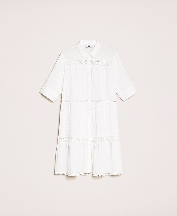 Broderie anglaise shirt dress with lace