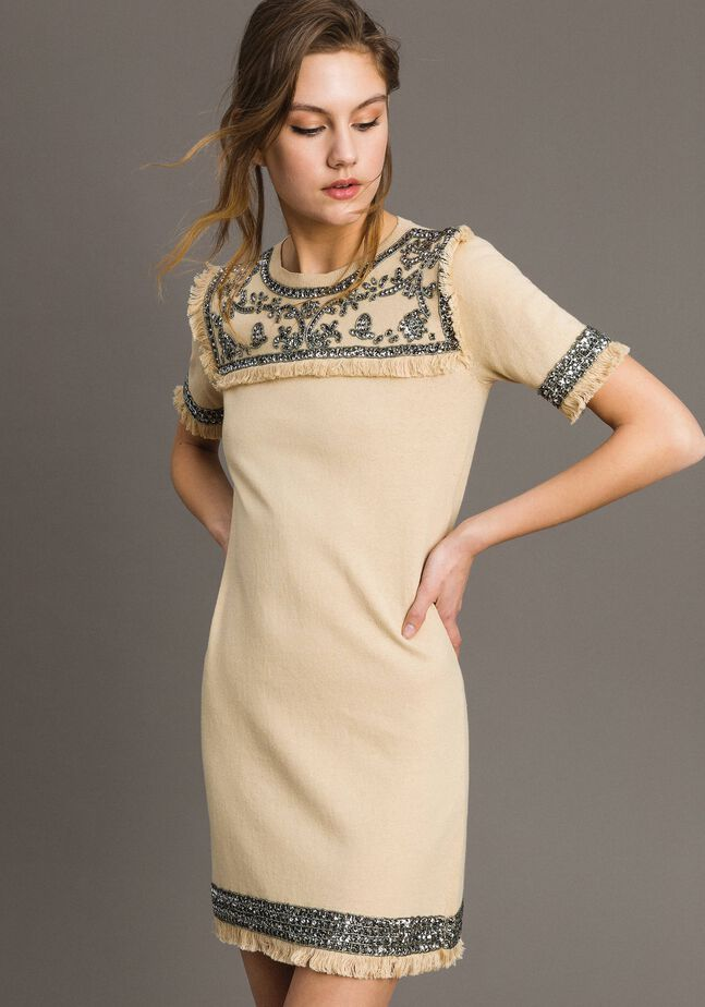 Embroidered linen blend dress with fringed trim