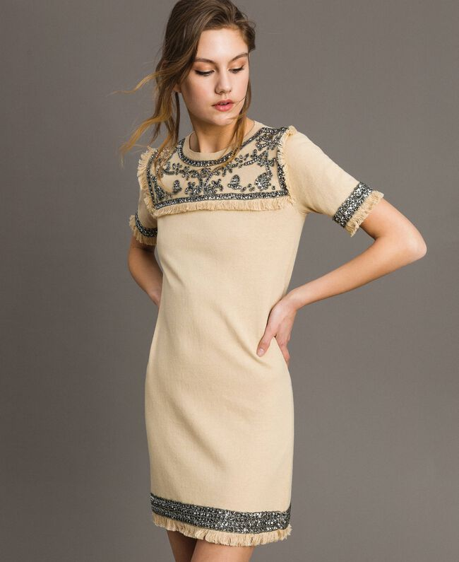 "Embroidered linen blend dress with fringed trim ""Marzipan"" Beige Woman 191TT3050-01"