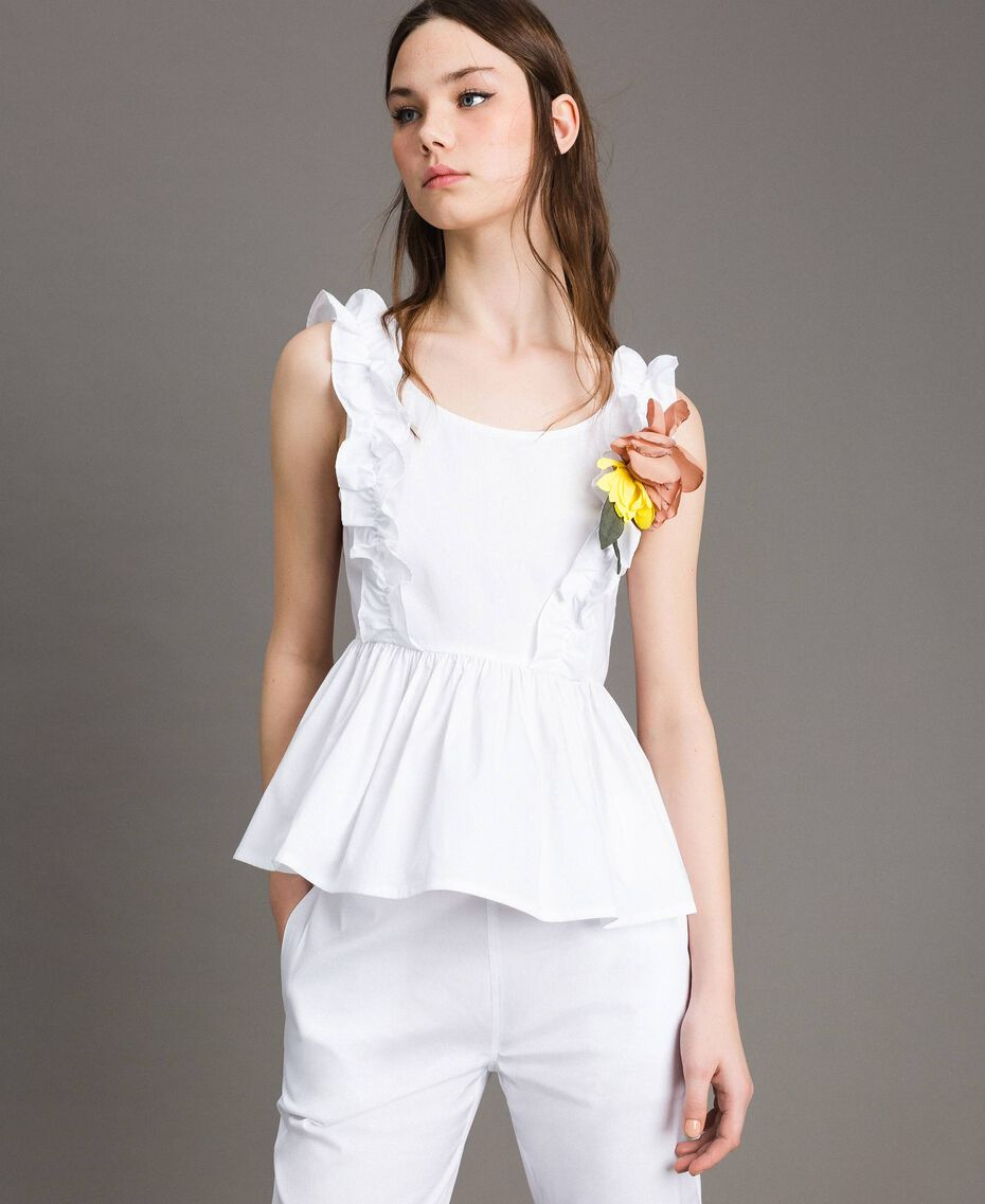 Poplin top with ruches and brooch White Woman 191MT2051-02