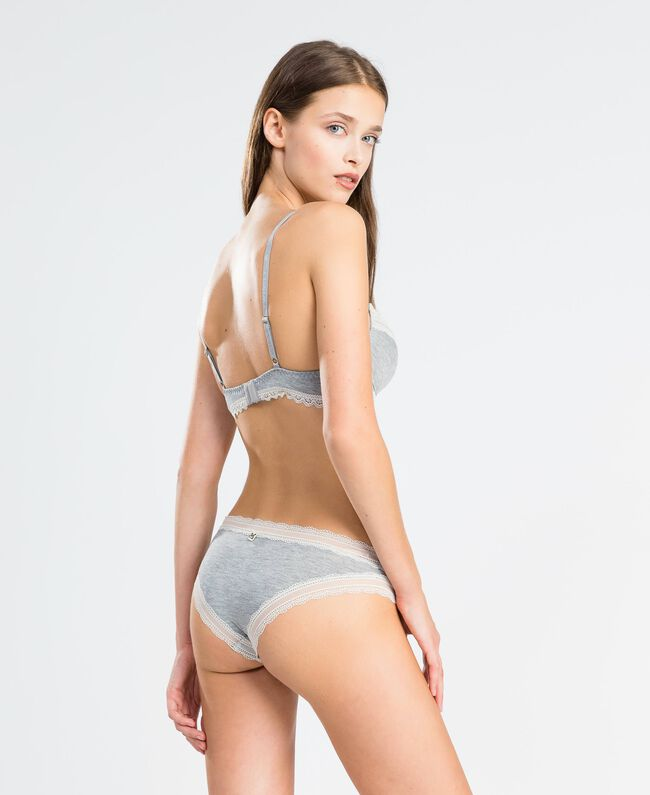 Push-up-BH aus melierter Stretchviskose Durchschnittgrau-Mélange Frau LA8B44-03