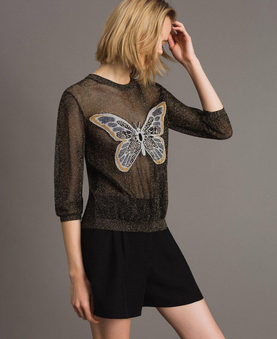 Lurex-Pullover mit Schmetterlings-Detail Lurex Schwarz Frau 191TT3101-02