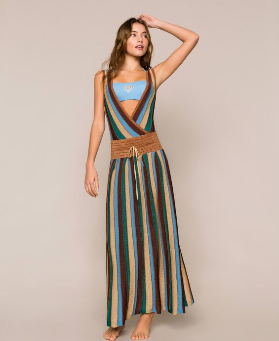 Разноцветное трикотажное платье с люрексом