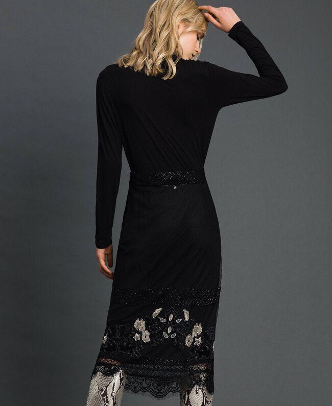 Jupe en tulle plumetis avec broderie florale Noir Femme 192TT2044-03