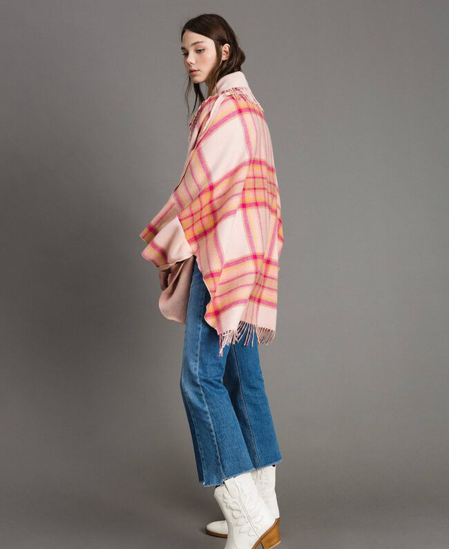 "Check wool cloth poncho ""Pink Check"" Woman 191TP2621-03"