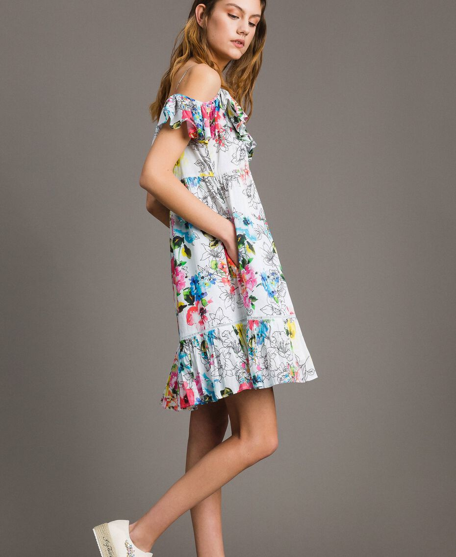 Floral print dress with ruffle and flounce All Over Optical White Multicolour Flowers Print Woman 191MT2290-03