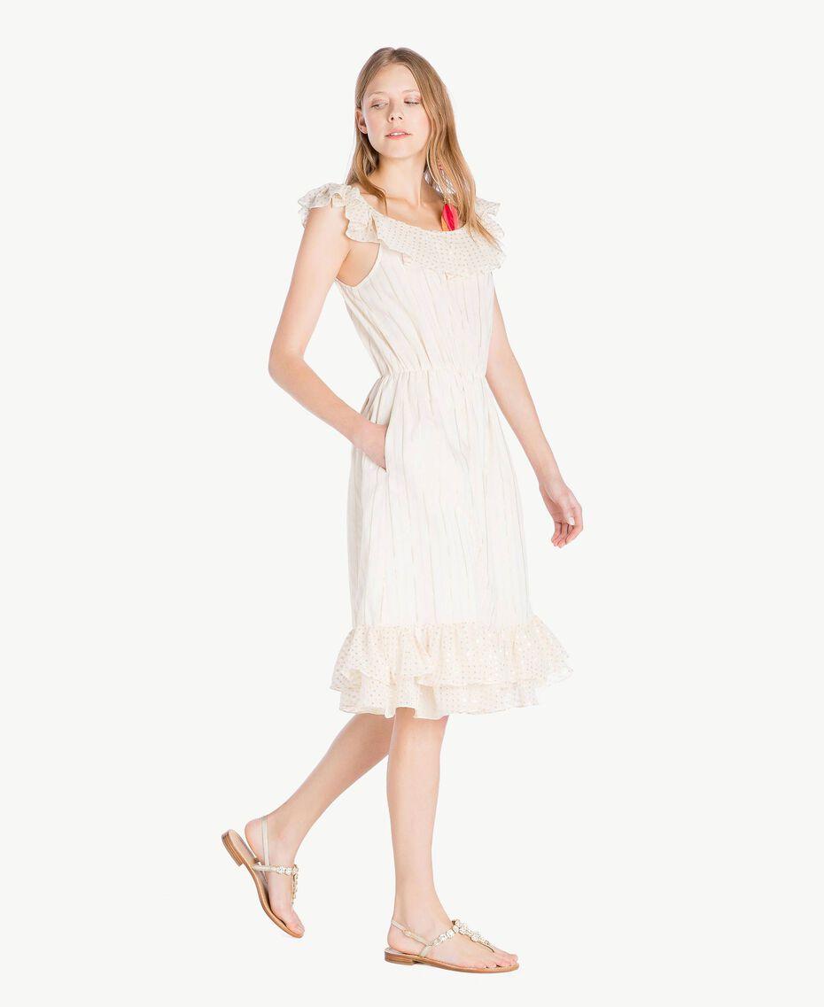 Kleid aus Jacquard Zweifarbig Meliertes Mittelgrau / Hellgold Frau TS8264-02
