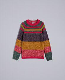 Pullover aus Moulinégarn in Color-Block-Verarbeitung Mehrfarbiger Mouliné Frau YA831B-0S