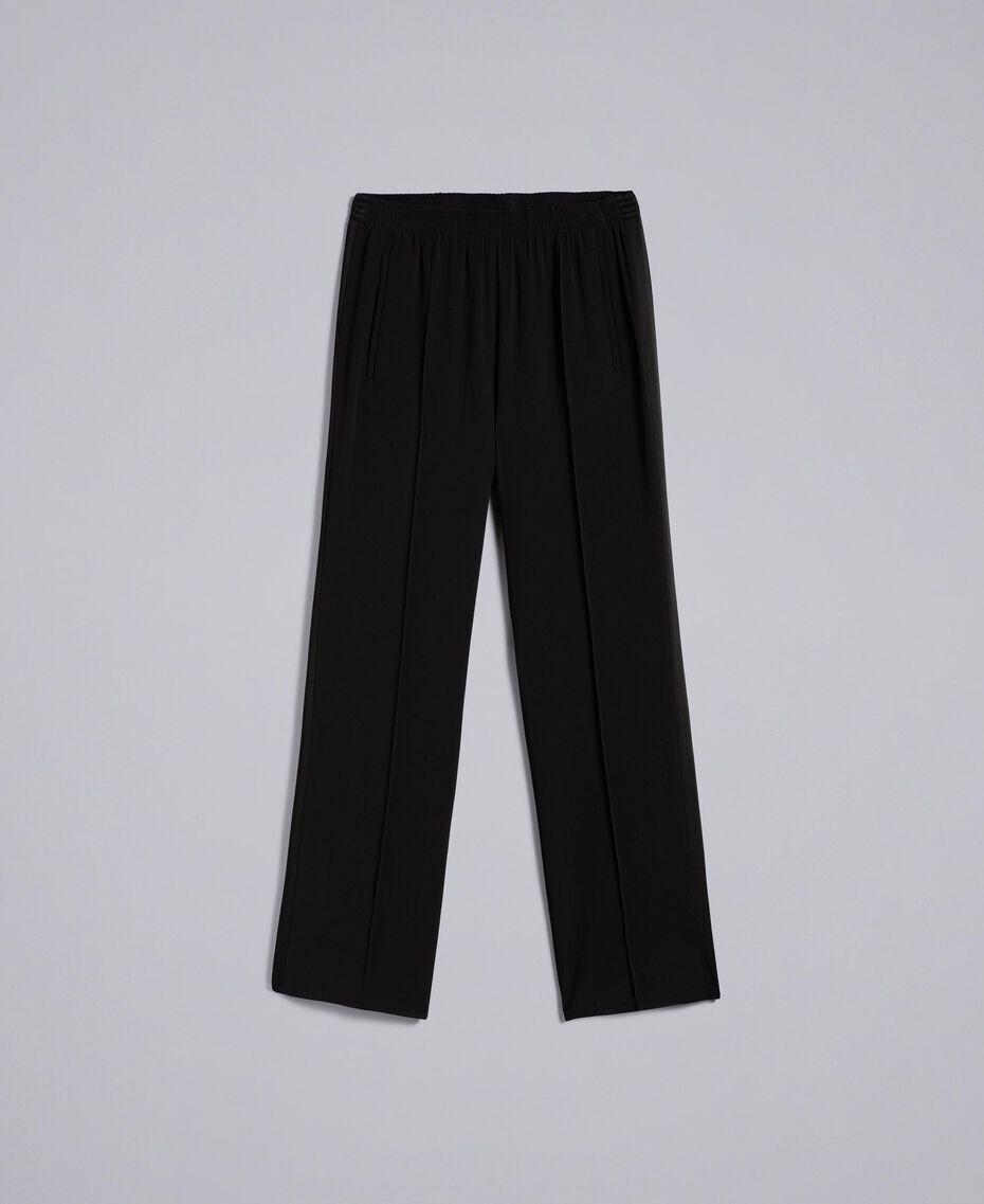Pantalon palazzo en envers satin Noir Femme TA824A-0S