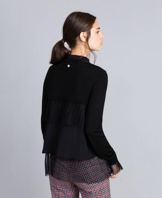 Jersey de lana mixta con tul plisado Negro Mujer SA83AA-03