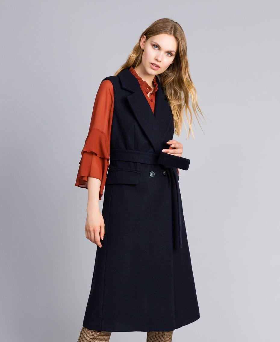 Lange Weste aus Tuch Nachtblau Frau TA821F-02