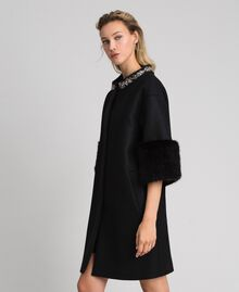 Embroidered coat with faux fur details Black Woman 192TT2162-02