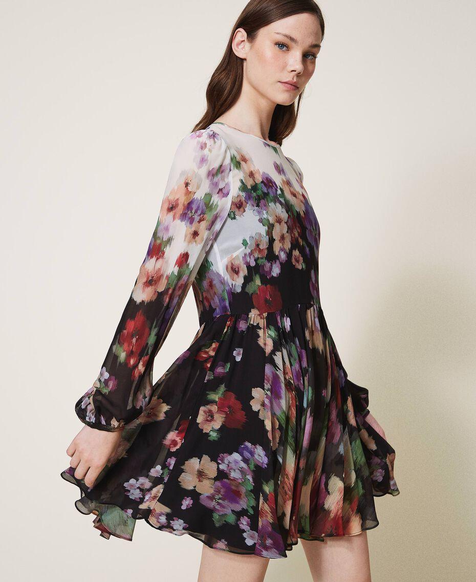 Floral georgette dress Black / Ivory Fadeout Floral Print Woman 202TT2381-02