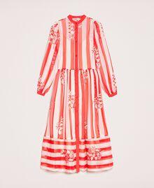 Длинное платье из крепона в полоску и цветочный рисунок Принт Цветок на Полосатом фоне Снег / Черный женщина 201TP2300-0S
