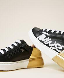 Sneakers de dos colores con logotipo Bicolor Negro / Oro Niño 212GCJ050-04