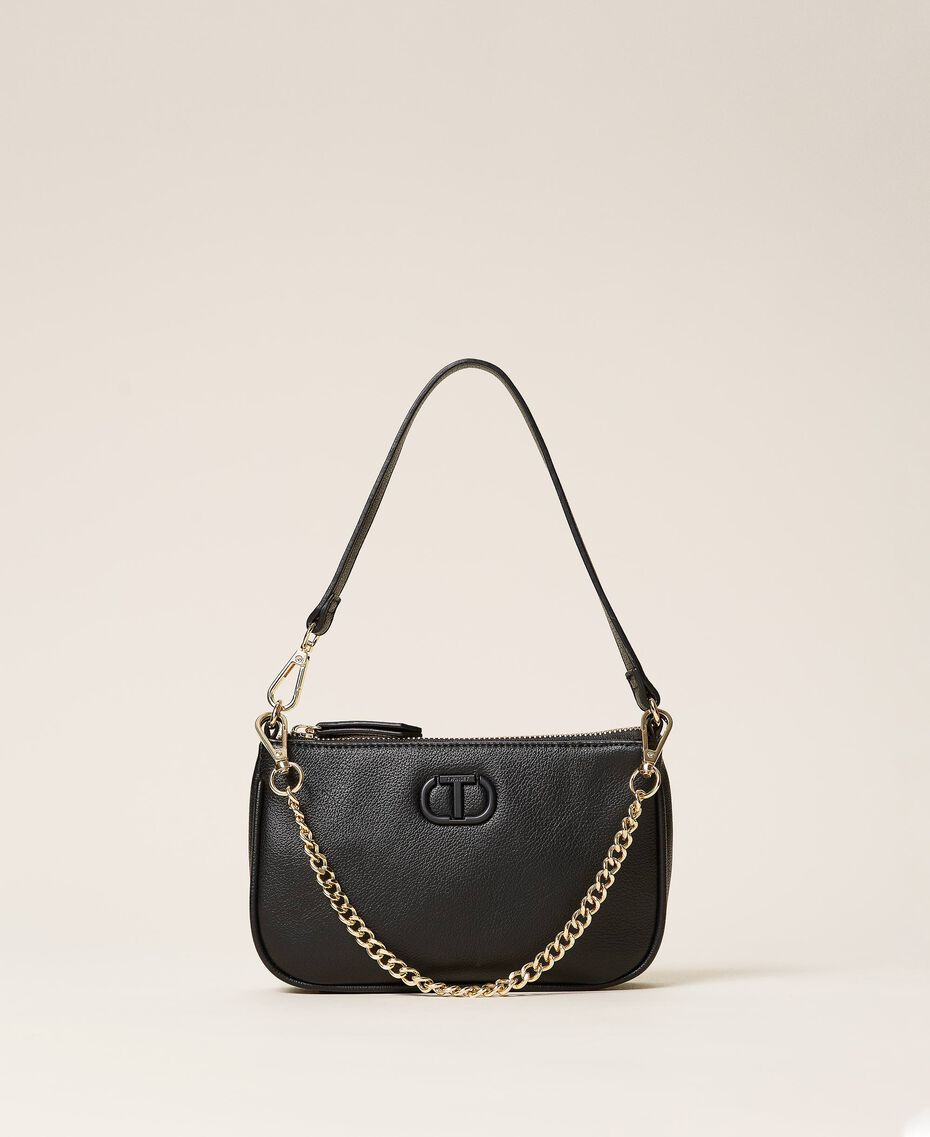 Shoulder bag with chain and logo Black Woman 212TB7050-01