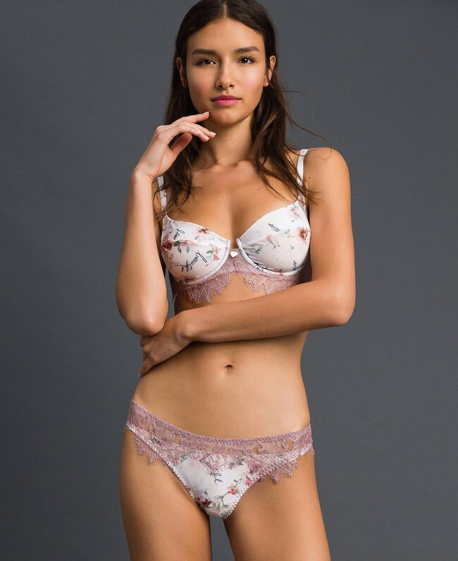 Floral underwire bra with lace Purple Red Floral Print Woman 192LI6555-01