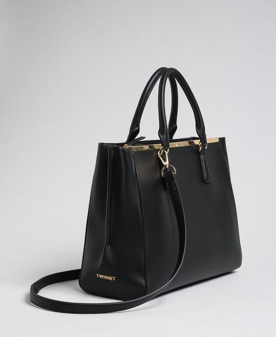 Faux leather shopping bag with logo