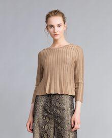 Pullover aus Lurexgarn mit Plissee Lurex Kamelbraun Frau PA83CC-01