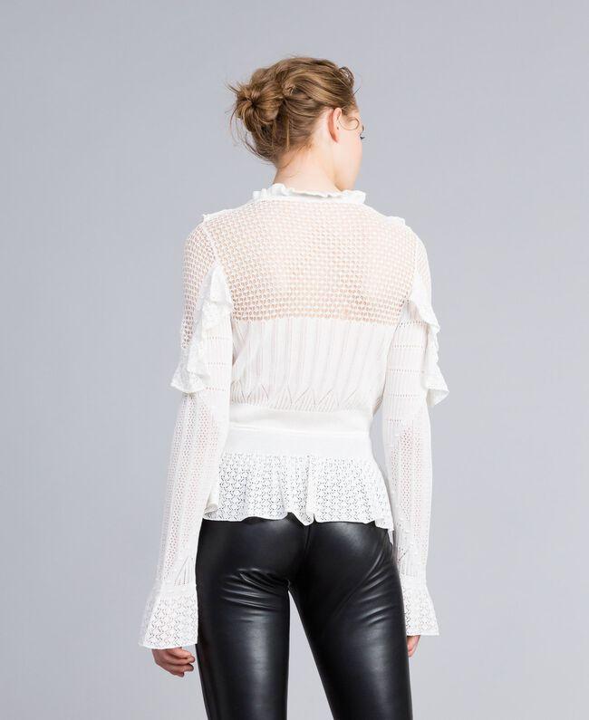 Pullover mit Mustermix in Spitzenoptik Weiß Schnee Frau PA83C6-03
