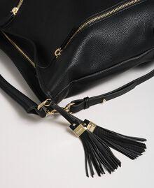 Sac hobo en similicuir avec pompons décoratifs Noir Femme 192TA7142-02