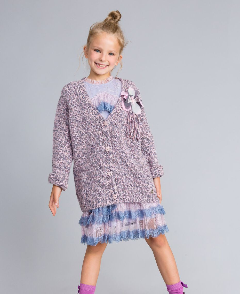 Maxi cardigan in mouliné yarn Multicolour Jacquard Child GA83EN-02