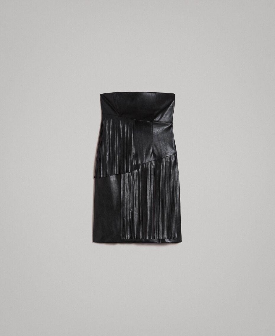 Kunstleder-Bustier-Kleid mit Fransen Schwarz Frau 191TT2320-0S