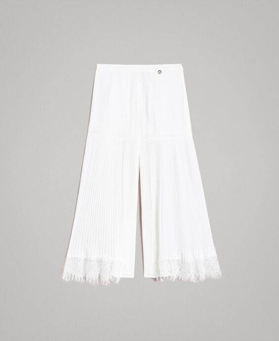 Pleated georgette and lace trousers