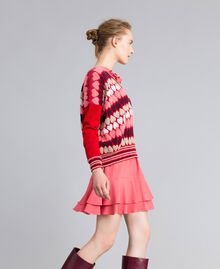"""Jumper with jacquard hearts """"Poppy"""" Red Heart Jacquard Woman PA837N-02"""