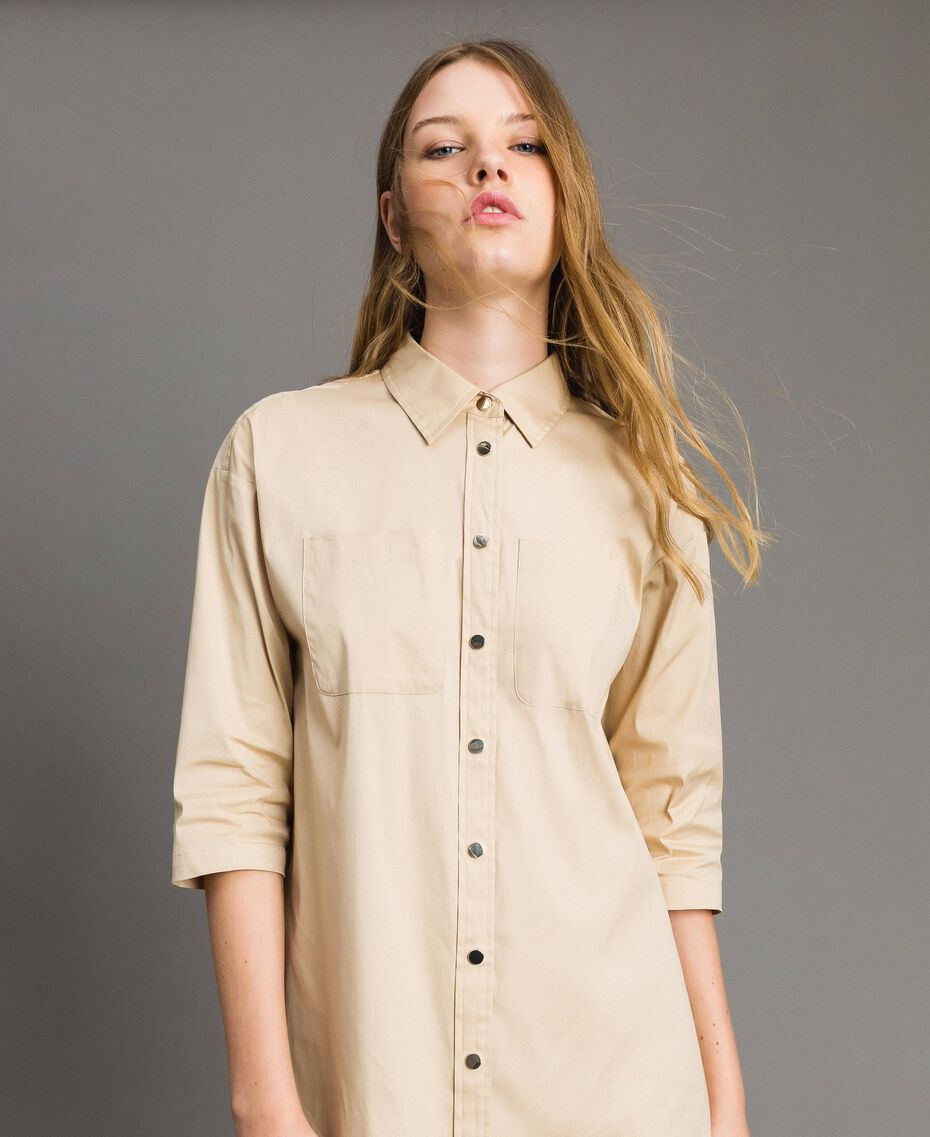 Poplin long shirt dress Beige Porcelain Woman 191MP2210-02