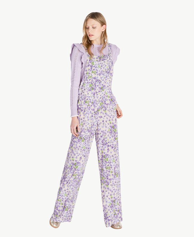 Printed dungarees All Over Violet Print Woman PS821R-01