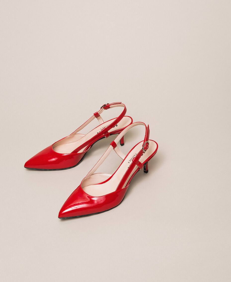 Patent leather slingback court shoes Venetian Red Woman 201MCP01C-01