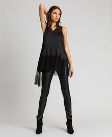 Satin top with flounce and lace Black Woman 192MP2130-01