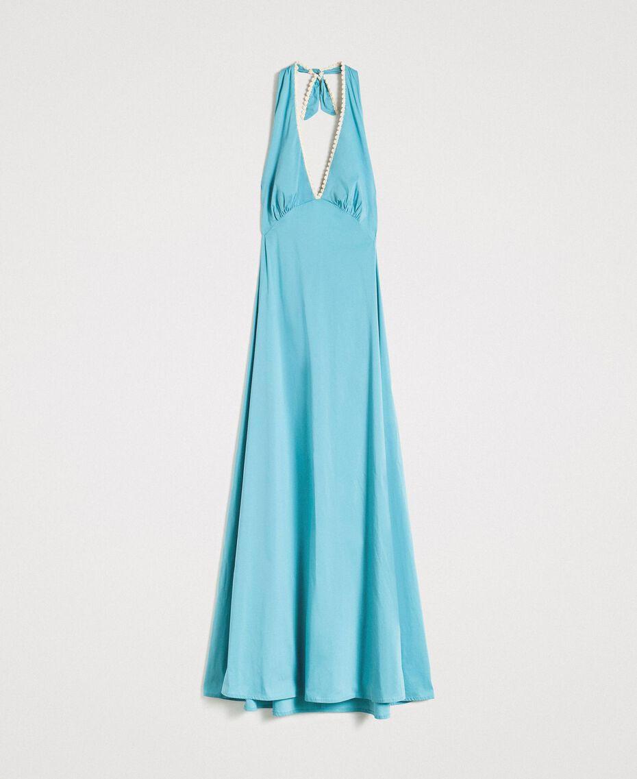 Poplin long dress Mousse Blue Woman 191LB2JBB-0S