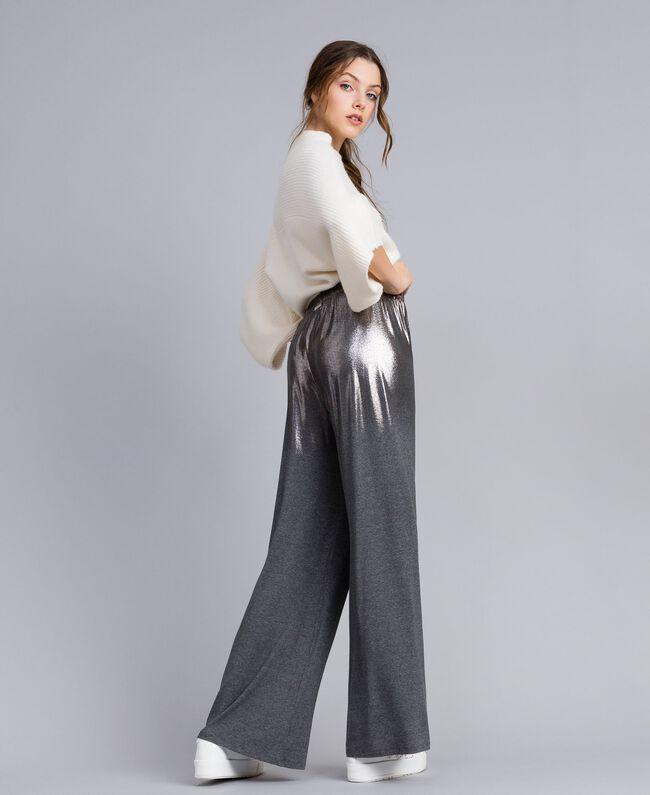 Pantalon palazzo en jersey Gris moyen chiné Femme IA81KK-03