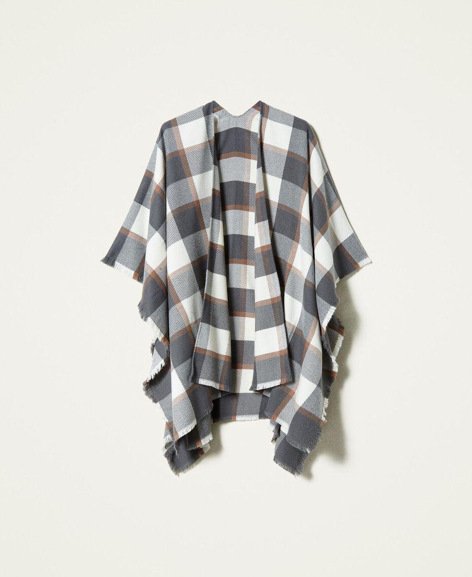 Poncho en drap jacquard à carreaux Carreaux Gris Chiné / Blanc «Lait» Femme 212AA4062-0S