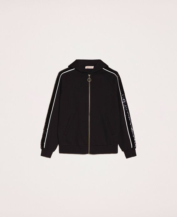 Bomber jacket with sequin bands
