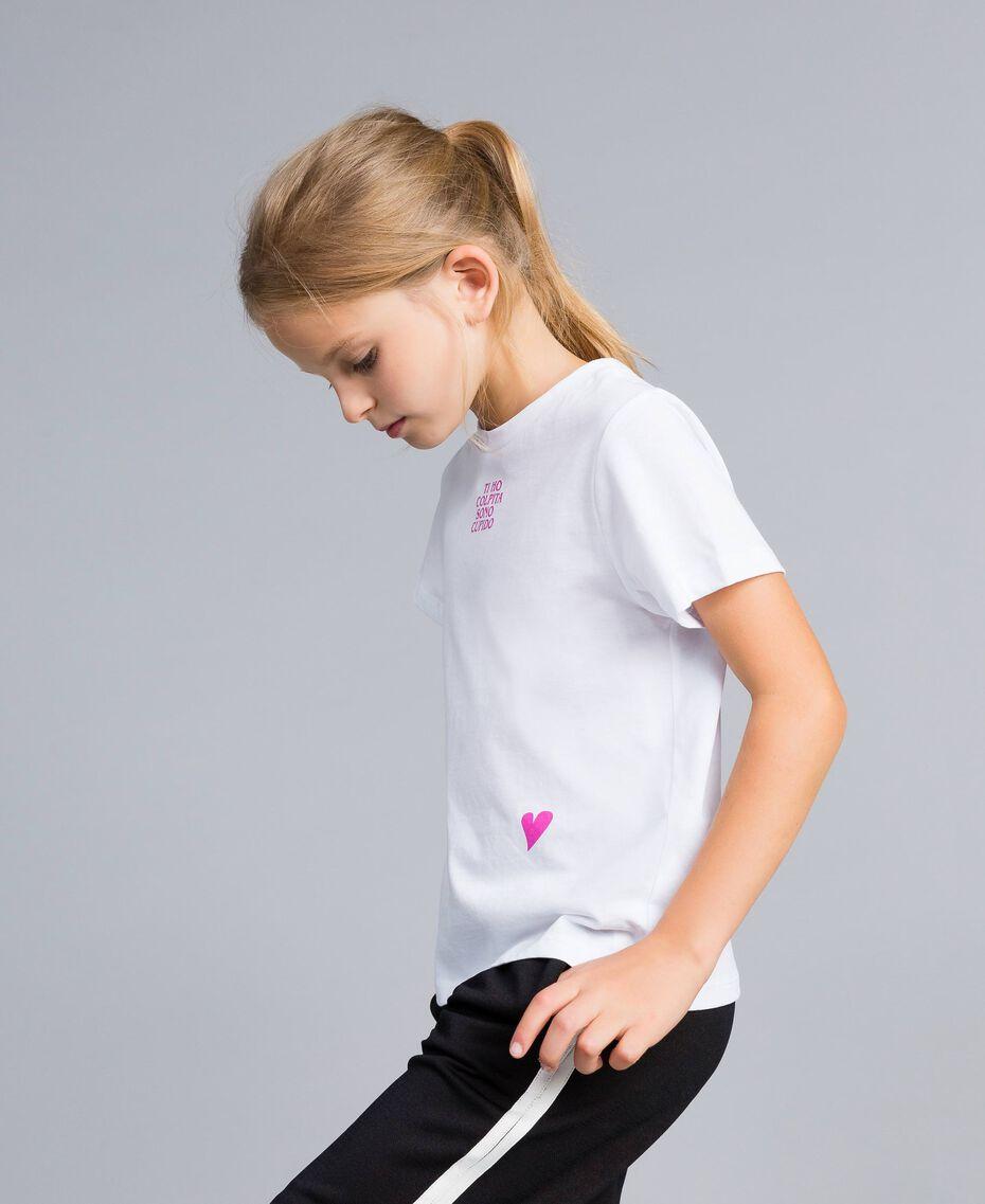 T-shirt unisexe junior en coton avec imprimé Blanc Enfant QA8TMP-02