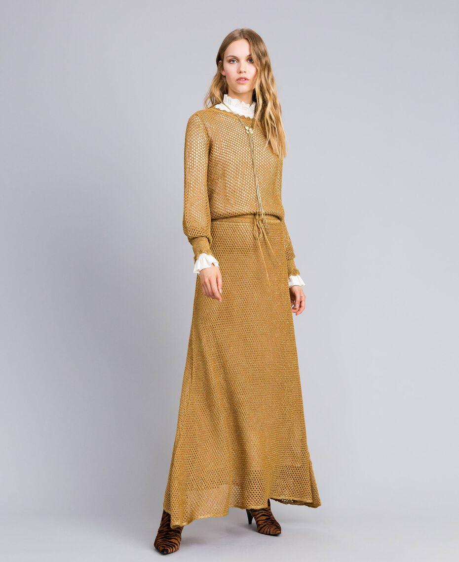 Mesh lurex long dress Gold Yellow Woman TA83EA-0T