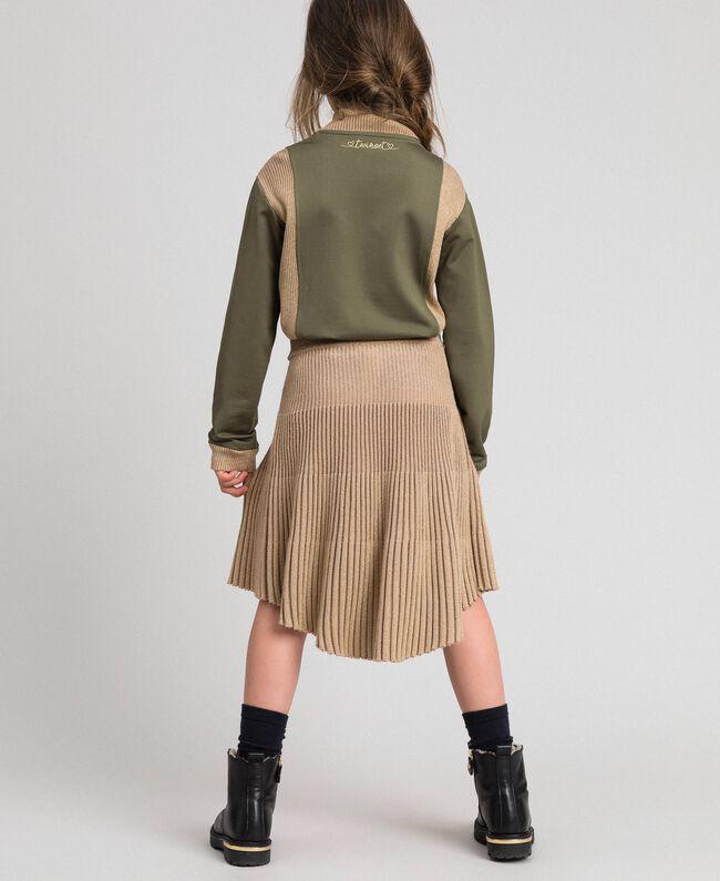 Jupe en maille côtelée lurex Beige «Épeautre» Enfant 192GJ3011-03