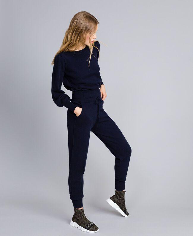 Pantaloni jogging in lana e cashmere Blu Notte Donna TA83AA-01