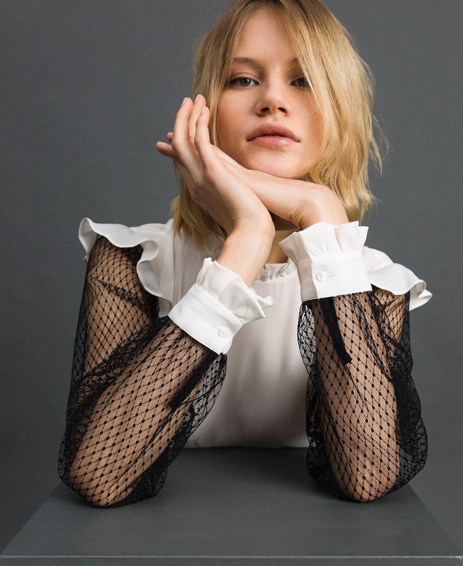 "Silk blend crêpe de Chine and tulle blouse Bicolour Black / ""Snow"" White Woman 192TP2362-01"